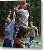 President Barack Obama Plays Basketball Metal Print by Everett
