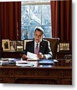 President Barack Obama Reviews Metal Print by Everett
