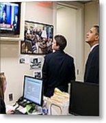President Barack Obama Watches Msnbc Metal Print by Everett