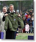 President Bush Displays A Jacket Given Metal Print by Everett