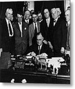 President Franklin D. Roosevelt Seated Metal Print by Everett