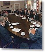 President George Bush Conducts A Full Metal Print by Everett