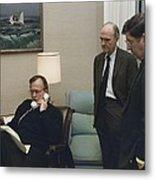 President George Bush In A Telephone Metal Print by Everett
