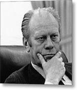 President Gerald Ford Listening Metal Print by Everett