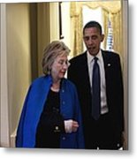 President Obama And Hillary Clinton Metal Print by Everett