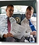 President Obama And Russian President Metal Print by Everett