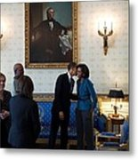 President Obama Kisses First Lady Metal Print by Everett