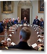 President Obama Meets With Combat Metal Print by Everett