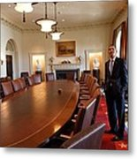 President Obama Surveys The Cabinet Metal Print by Everett