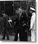 President Reagan Gestures To Members Metal Print by Everett