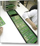 Printed Circuit Board Assembly Work Metal Print by Ria Novosti