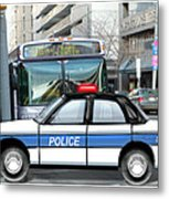 Proud Police Car In The City  Metal Print by Elaine Plesser