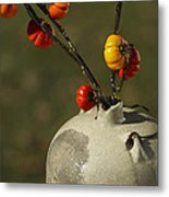 Pumpkin On A Stick In An Old Primitive Moonshine Jug Metal Print by Kathy Clark