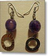 Purple Doodle Drop Earrings Metal Print by Jenna Green