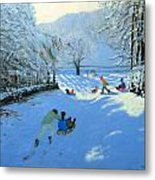 Pushing The Sledge Metal Print by Andrew Macara