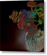 Rainbow Flowers In Glass Globe Metal Print by Padre Art