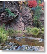 Rainbow Of The Season And River Over Rocks Metal Print by Heather Kirk