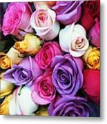 Rainbow Rose Bouquet Metal Print by Anna Villarreal Garbis