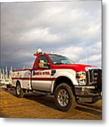 Red And White Harbor Patrol Vehicle Metal Print by David Buffington