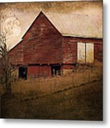 Red Barn In The Evening Metal Print by Kathy Jennings