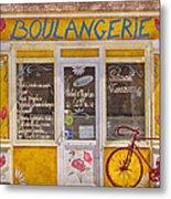 Red Bike At The Boulangerie Metal Print by Debra and Dave Vanderlaan