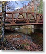 Red Bridge Metal Print by Debra and Dave Vanderlaan