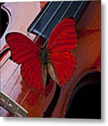 Red Butterfly On Violin Metal Print by Garry Gay