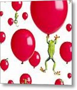 Red-eyed Treefrogs Floating On Red Metal Print by Corey Hochachka