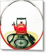 Red Kettle Metal Print by Tom Gowanlock