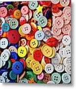 Red Lips Button Metal Print by Garry Gay