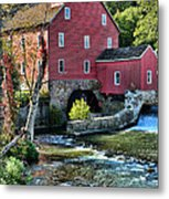 Red Mill On The Water Metal Print by Paul Ward