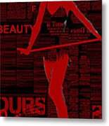 Red Paper Dance Metal Print by Naxart Studio