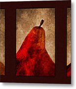 Red Pear Triptych Metal Print by Carol Leigh