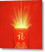 Red Pocket For Chinese New Year Metal Print by BJI/Blue Jean Images