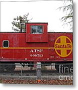 Red Sante Fe Caboose Train . 7d10328 Metal Print by Wingsdomain Art and Photography