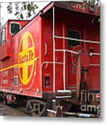 Red Sante Fe Caboose Train . 7d10332 Metal Print by Wingsdomain Art and Photography