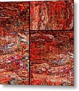 Red Splashes Swishes And Swirls - Abstract Art Metal Print by Carol Groenen