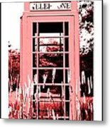 Red Telephone Booth In A Field In Maine Metal Print by Kara Ray