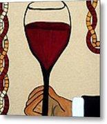 Red Wine Glass Metal Print by Cynthia Amaral