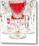 Red Wine Glass Metal Print by Parinya Kraivuttinun