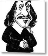 Rene Descartes, Caricature Metal Print by Gary Brown