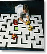 Researcher Testing Lego Robots Playing Pacman Metal Print by Volker Steger