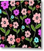 Retro Florals Metal Print by Louisa Knight