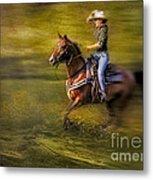 Riding Thru The Meadow Metal Print by Susan Candelario