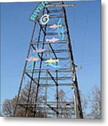 River Walk Tower Sign In West Sacramento California . 7d11400 Metal Print by Wingsdomain Art and Photography