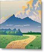 Road Leading To Mountains Metal Print by Aloysius Patrimonio