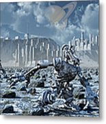 Robots Gathering Rich Mineral Deposits Metal Print by Mark Stevenson