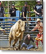 Rodeo Clowns To The Rescue Metal Print by Sean Griffin