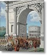 Roman Soldiers Lead Chained Captives Metal Print by H.M. Herget