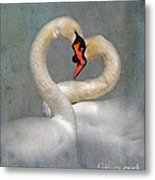 Romantic Image Of Courting Swans Metal Print by Louise Heusinkveld